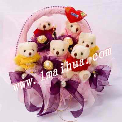 商品详细-6只精品小熊3颗金莎巧克力.