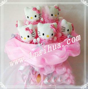 商品详细-9只高10CM的正版(挂吊牌)KT猫,粉色高档纱款包装。花束高35CM